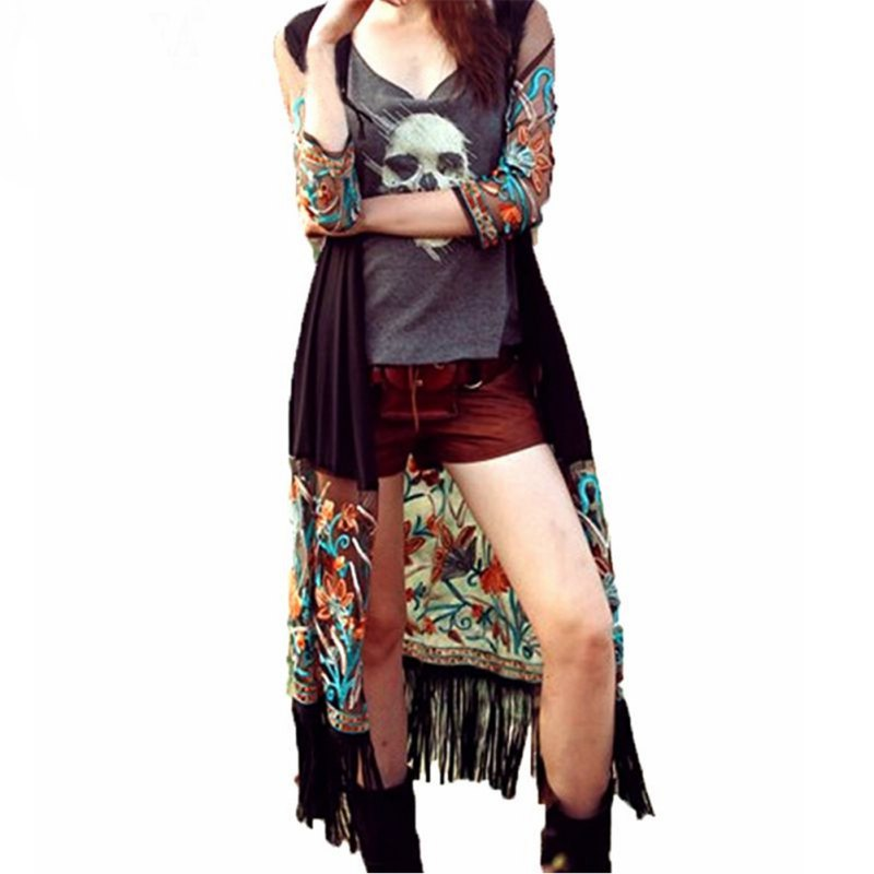 Women Vintage Long Cardigan Blusas Boho Floral Tassel Beach Cover Up Tops Chiffon   Blouse     Shirts