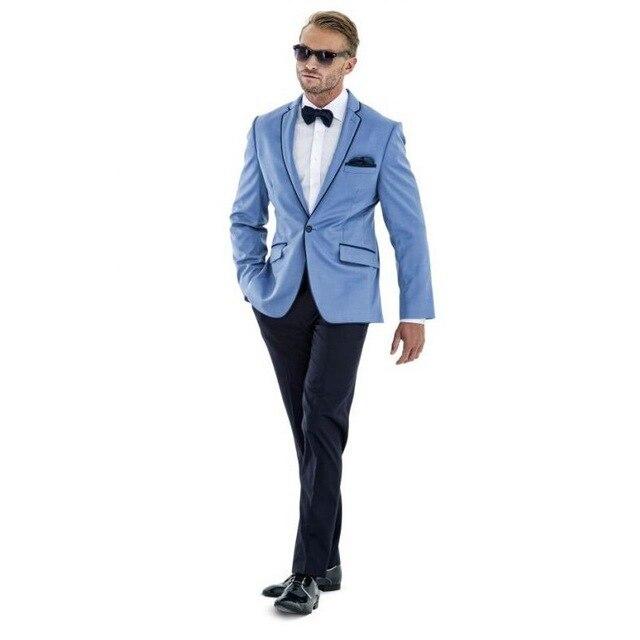 2017 New Mix Match Sky Blue Suits Blazer With Black Pants Slim Fit