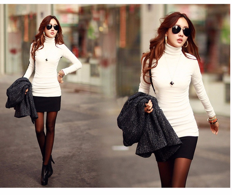 Spring Autumn Winter Fashion Turtleneck Tops Long Sleeve Cotton T Shirt Slim Casual t-shirt women 2016 Basic Tees Shirts A550 d