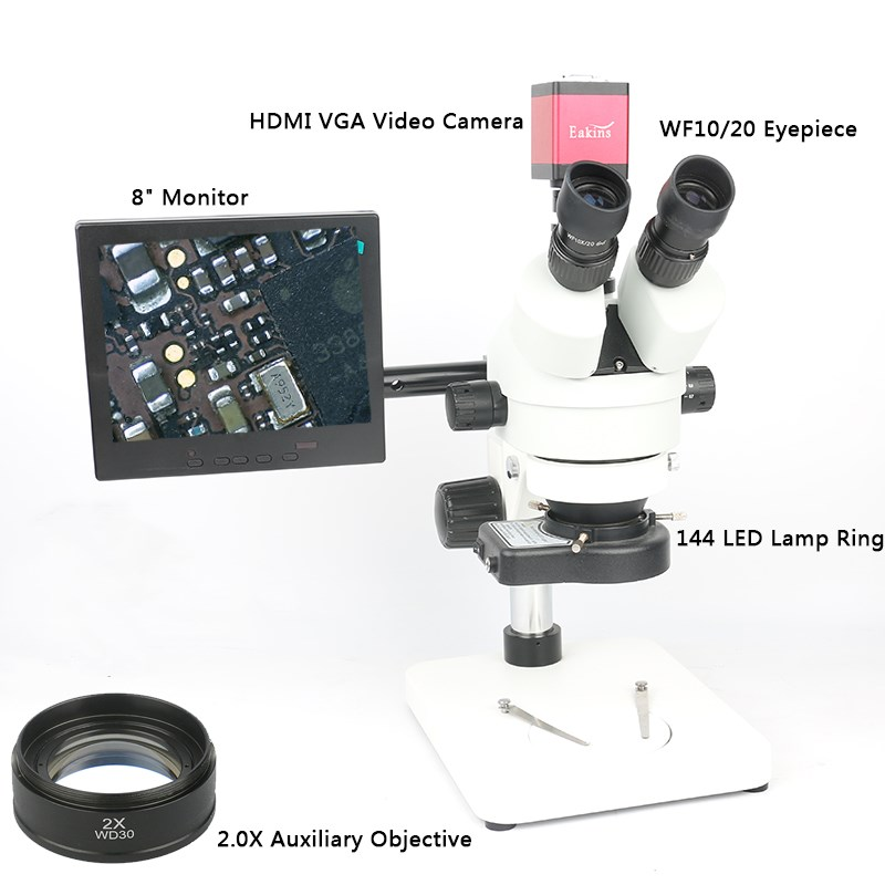 Simul focal 7X~90X Continuous Zoom Trinocular Stereo Microscope +HDMI/VGA Microscope Camera+144LED light+ 8' Monitor + Holder simul focal 3 5x 90x trinocular stereo microscope hdmi vga industrial camera with adjustable metal holder 144 led ring light