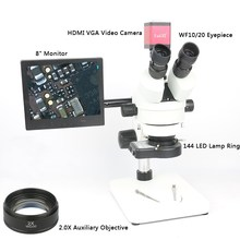 Continuous Zoom Binocular Visual 7X-45X Trinocular Stereo Microscope+HDMI VGA Microscope Camera+144LED light+ 8'Monitor+Holder microscope arm with 76mm focusing rack 35mm or 25mm diameter stand for trinocular binocular stereo microscope