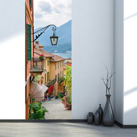 Italy Lake Como Town Street Landscape 3d Wall Stickers For Smooth Door Styling Vinyl Wallpaper Home