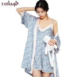 Fdfklak Лето одеяние Для женщин комплект из двух предметов район Сексуальная Халаты женские халаты Домашняя одежда, ночное белье халаты