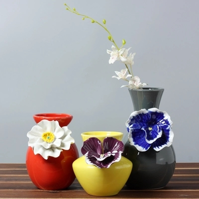 Red Yellow Gray Porcelain Creative Hand Pinch Flower Vase New Home