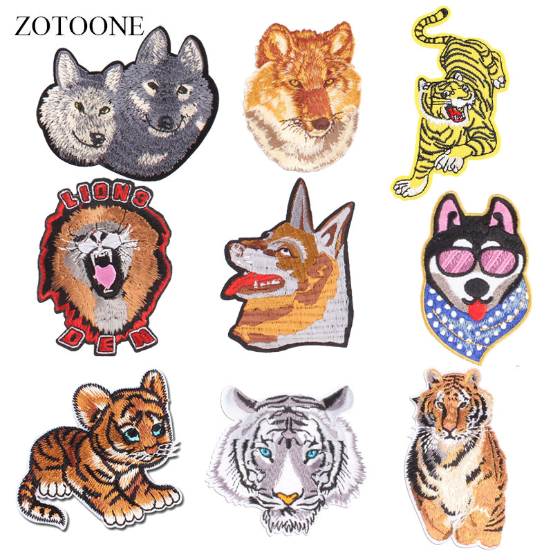 ZOTOONE Animal Patch Wolf Tiger Stickers Diy Iron on Clothes Heat Transfer Applique Embroidered Applications Cloth Fabric G in Patches from Home Garden
