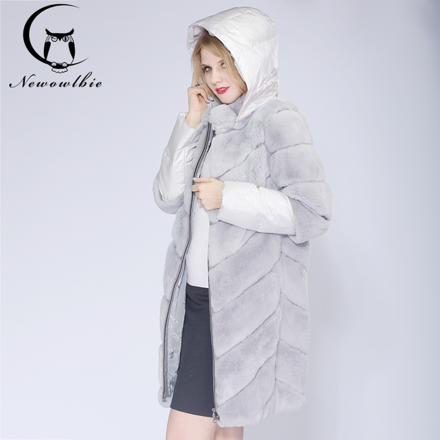 2019 Detachable Real Fur Winter Jacket Women Down hat and sleeves Warm Winter Women Rex Rabbit Coat Real