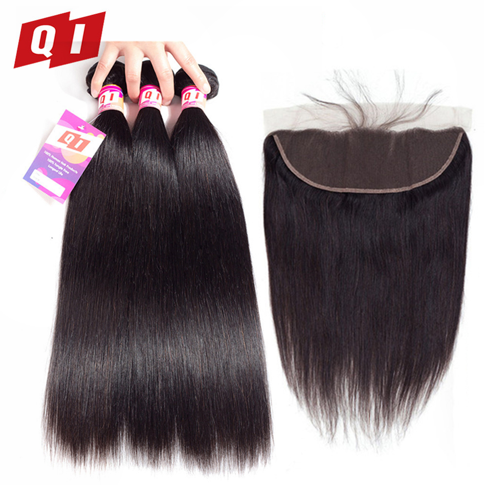 QI Hair Mongolian Straight Hair Natural Color Weave Non-Remy 100% Human Hair 3 Bundles With 13*4 Lace Frontal Closure