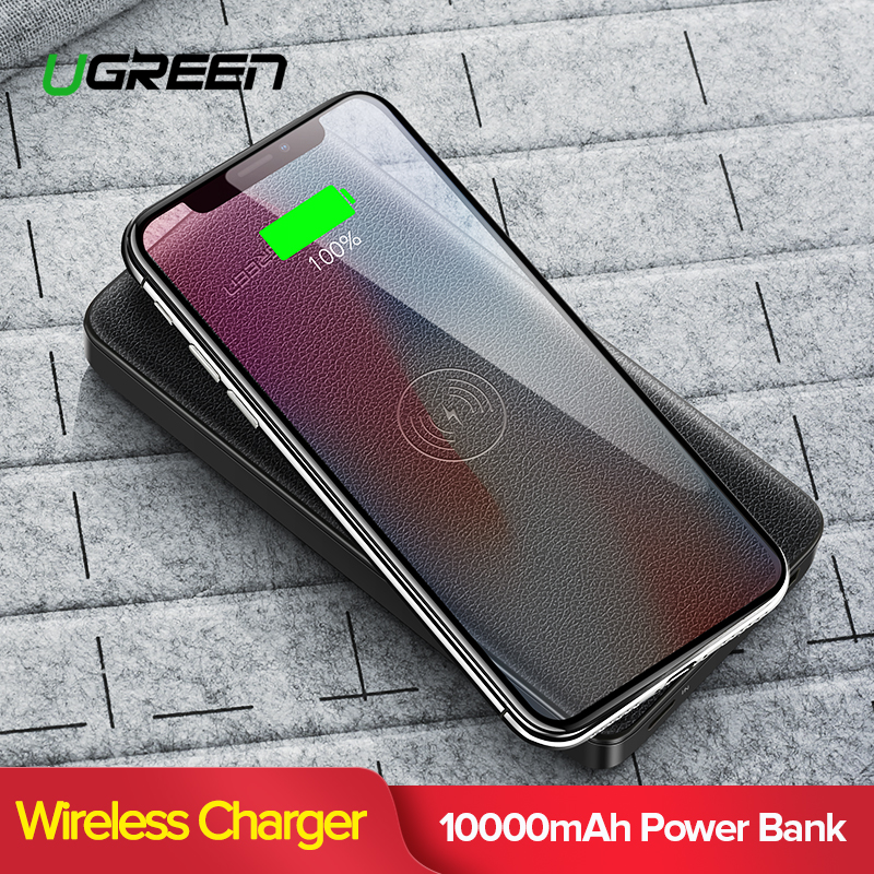 Ugreen 10000 mAh cargador inalámbrico Qi banco de potencia para iPhone XS Max Xiaomi 3A Dual con puerto USB batería externa de carga inalámbrica powerbank