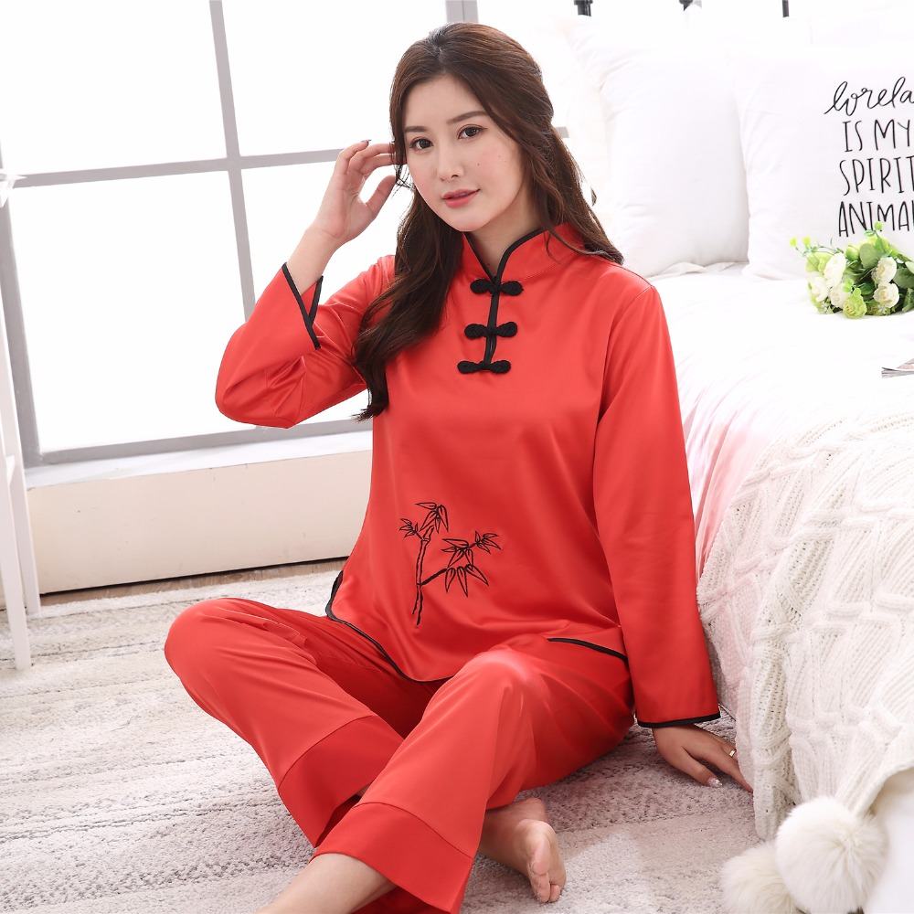 Hat Sale Red Ladies Faux Silk   Pajamas     Set   Chinese Traditional Button Pyjamas Suit 2PC Shirt&Pant Spring New Sleepwear M-XXL
