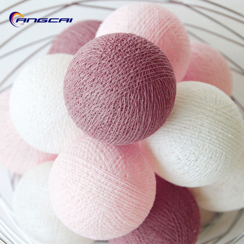New Color Sweet Rosy Cotton Ball String Lights Fairy Party Wedding Home Garden Garland Decor,AA Battery/USB/Plug In Powered