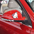 Hello Kitty Car Accessories Pink Cartoon Bowknot Sticker For Rearview Mirror Handles Windows Interior Outerior Body Car Styling