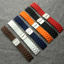 22mm 24mm Womwns Mens Silicone Rubber Adjustable Watch Strap Band Waterproof With Deployment Clasp