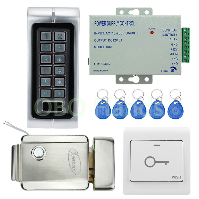 IP65 Waterproof Standalone Access Controller Metal Keypad RFID Card Reader With Electric Lock For Door Access Control System