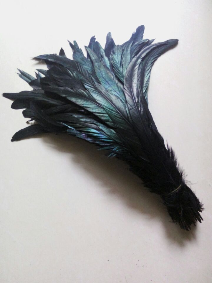 New! Wholesale high quality 50 pc black rooster feathers, 12-14  30-35CM DIY jewelry decoration, art props accessories