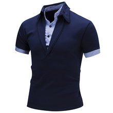 Hot Sale Cotton Mens Polos Slim New Style Stylish Fashion High Quality Fake Two Piece Solid Color Men Short Sleeve Polo Shirt