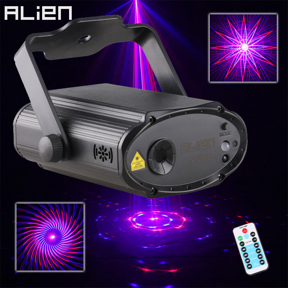 ALIEN USB Red Blue 12 Patterns Laser Stage Lighting Effect Remote DJ Disco Party Dance Holiday Xmas Sound Activated Laser Lights