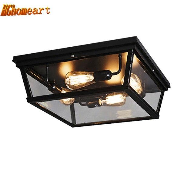 High Quality American Retro Style Iron 110V-220V E27 Edison Bulb Ceiling Lamp Creative Restaurant Nordic Ceiling LED Lights