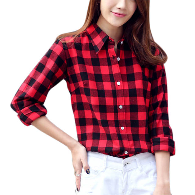 e65167c4486 New Women Plaid Shirt 2017 Fashion Student Female Blouses Long Sleeve  Flannel Shirt Plus Size Cotton