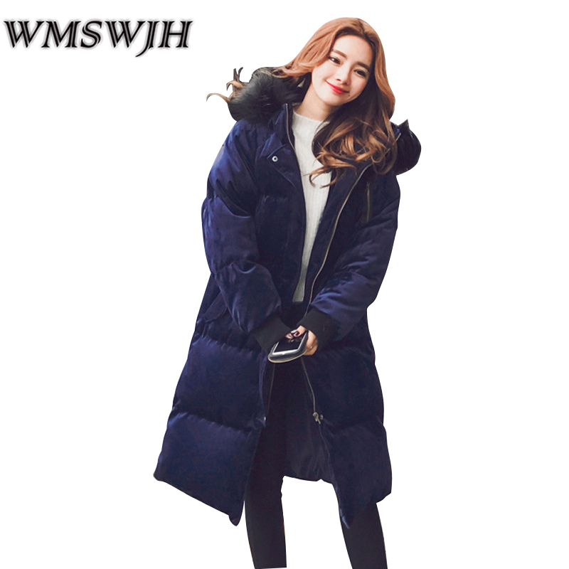 WMSWJH Winter Jackets Women Thick Warm Female Parka Pure Color Down Cotton Outerwear Large Fur Collar Women Winter Long Coats стоимость