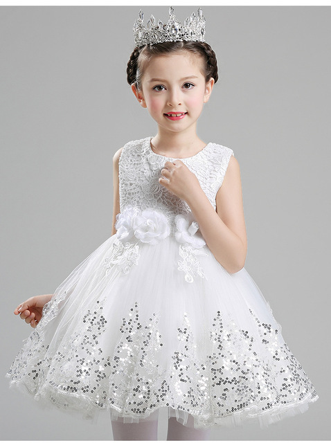 5850b1e34349 High Quality sequin Pink baby girls 1 year old birthday dress baby ...