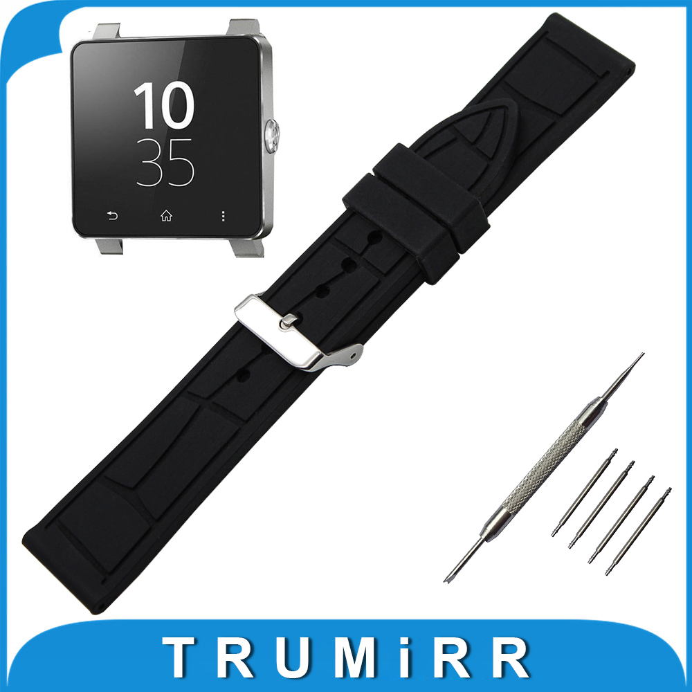 24mm Silicone Rubber Watch Band + Tool for Sony Smartwatch 2 SW2 Replacement Watchband Pin Clasp Strap Wrist Belt Bracelet Black 24mm genuine leather watchband for sony smartwatch 2 sw2 smart watch band wrist strap plain grain belt bracelet tool black