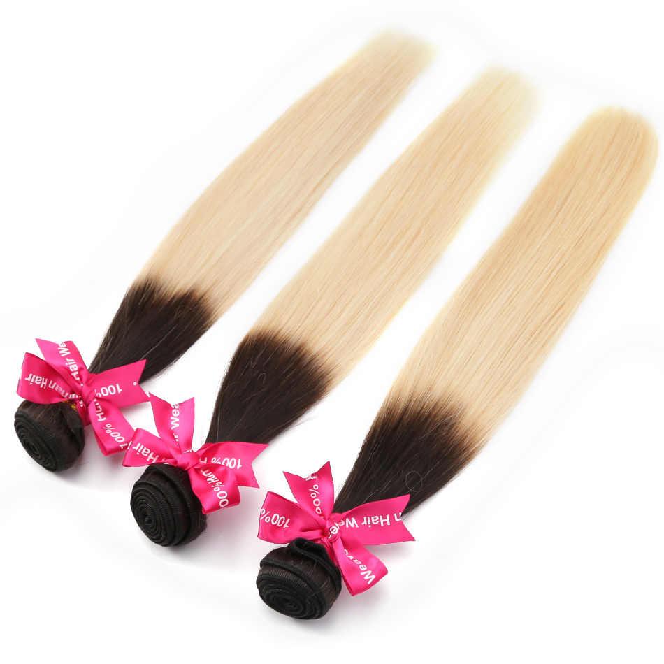 Luvin Ombre Sarışın Brezilyalı Düz Saç 100% Remy insan saçı örgüsü Demetleri Renk T #1B/#613 Ücretsiz Kargo