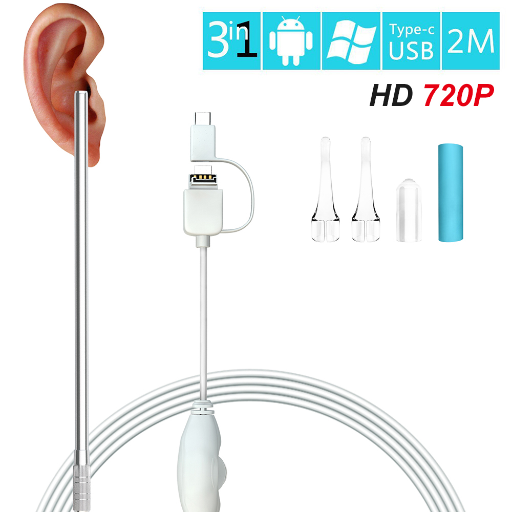 High Definition Visual Ear Spoon Cleaning Endoscope Cleaner Ear Wax Removal USB For Android Type-c With Mini Camera Ear Care