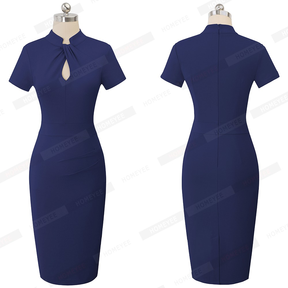 Elegant Work Office Business Drapped Contrasting Bodycon Slim Pencil Lady Dress Women Sexy Front Key Hole Summer Dress EB430 52