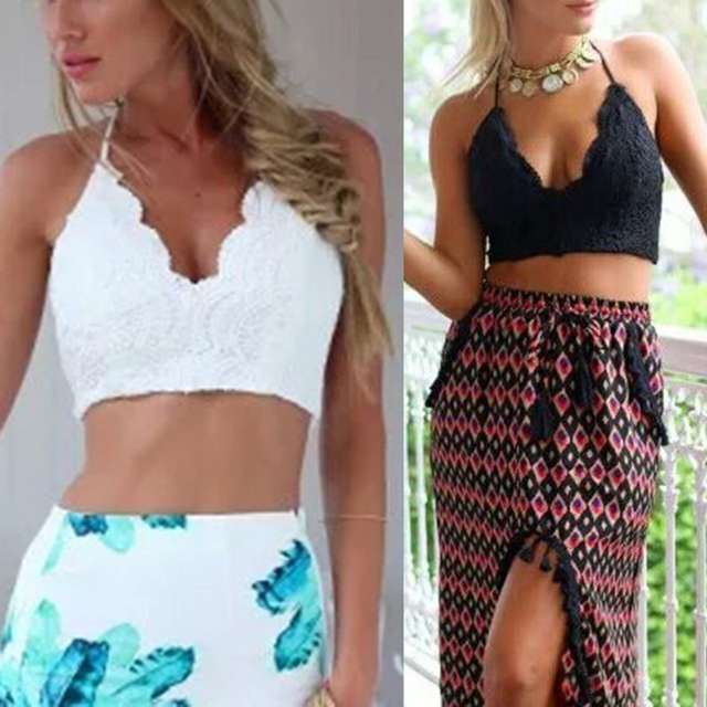 edc8c43c591ae Women Crochet Lace Boho Beach Bikini Cami Tank Crop Top Halter Bralette  Knit Bra Tops