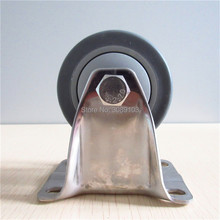 1 pcs 3 inch 304 Stainless Steel TPR rubber fixed caster Mute wheel