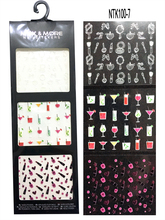 3 Sheets lot 3D Nail Art Decals Drink cup high heels Lipstick Nail Stickers With Cosmetics