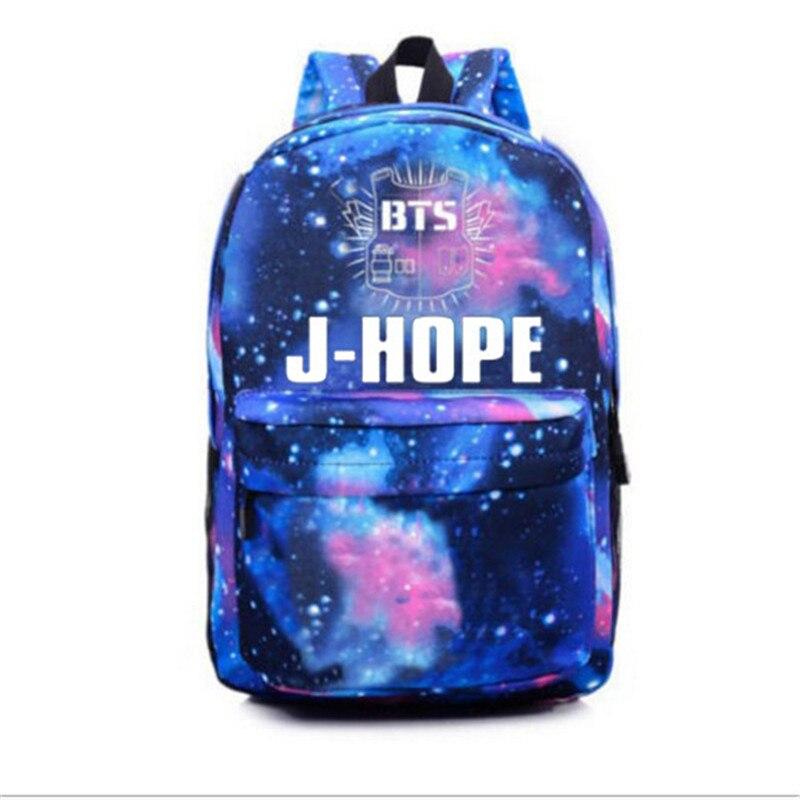 2017 Hot bangtan Niños BTS mochila, Coreano Kpop estrellas bolso de escuela, Niños niñas libro laptop Satchel, v, Rap Monster, Jin, suga