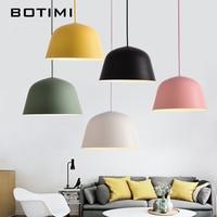BOTIMI Colorful Macaron Pendant Lights For Dining Round Iron E27 Kitchen Lamp Metal LED Hanging Lamp