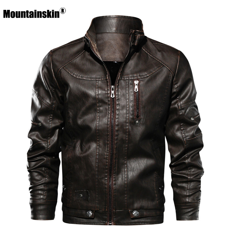 Mountainskin New Men PU Jacket Leather Coats Motorcycle Jackets Slim Fit Windbreaker Fashion Male Outerwear Brand Clothing SA672