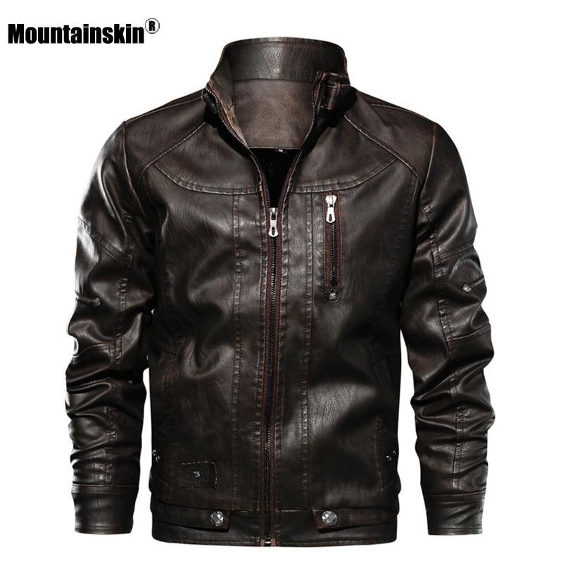 Mountainskin New Men PU Jacket Leather Coats Motorcycle Jackets Slim Fit Windbreaker Fashion Male Outerwear Brand Clothing SA672