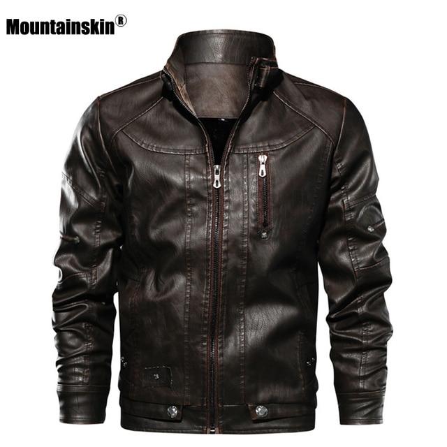 Куртка Mountainskin мужская из ПУ кожи, приталенная ветровка, Брендовая верхняя одежда, SA672Куртки из искуственной кожи    АлиЭкспресс