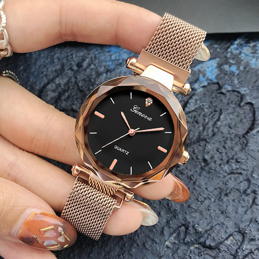 Rose Gold  Crystal Female Stainless Steel Mesh Quartz Wrist Watch Montre Femme  Exquisite Ladies Watch