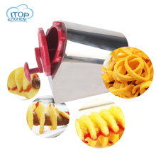 ITOP Stainless Steel + ABS Plastic Potato Slicer Twisted Carrot Cutter Tornado Chips Slicing Machine Home and Commercial Use