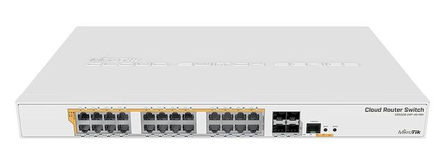 Mikrotik CRS328 24P 4S+RM 24 port Gigabit Ethernet router/switch with four 10Gbps SFP+ ports in 1U rackmount case