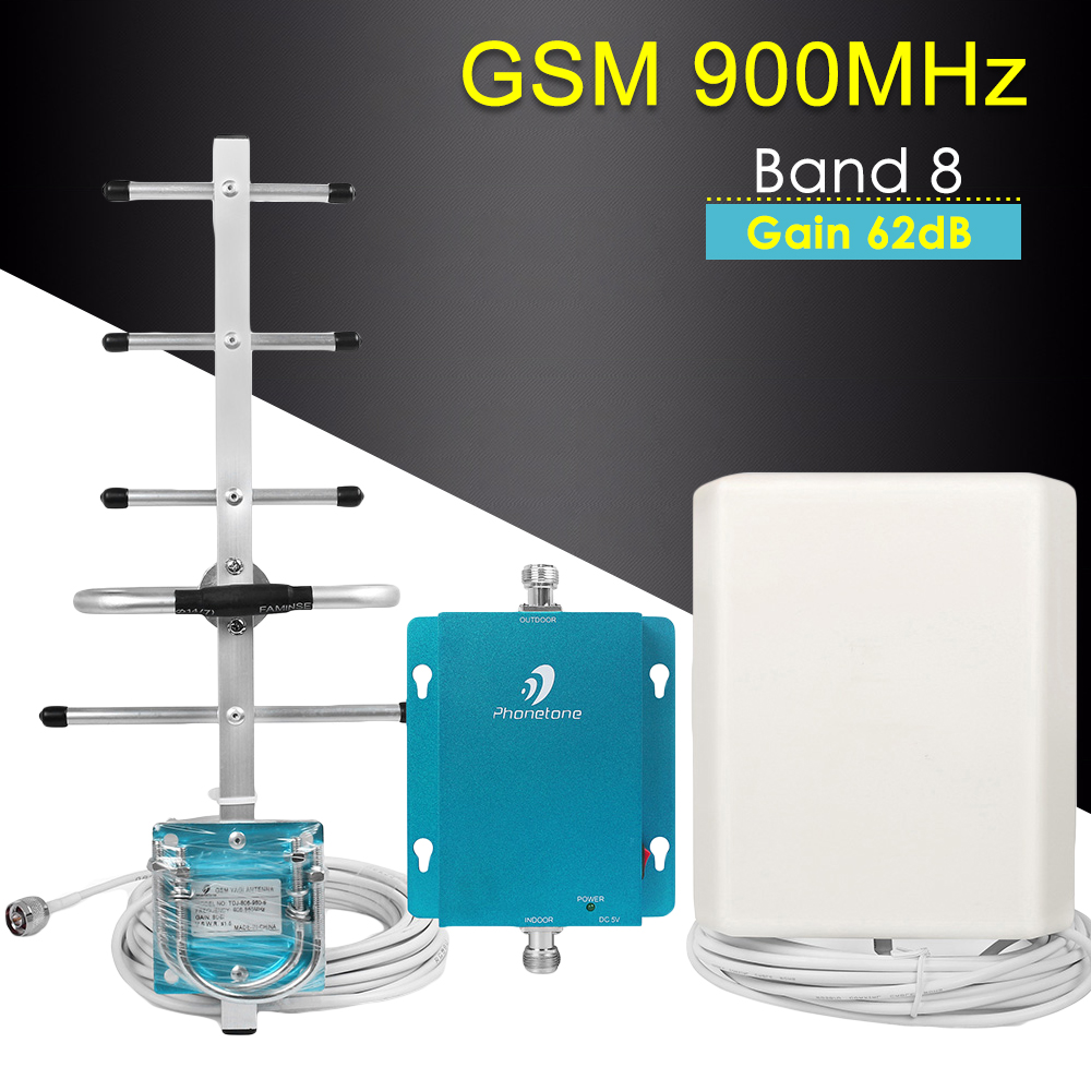 GSM Cellular Signal Booster GSM Repeater 900mhz 62dB Band 8 Booster Antenna Cell Mobile Phone GSM 900 Signal Booster Amplifier