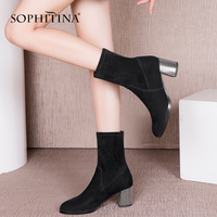 SOPHITINA 2018 Woman Shoes High Quality Brand Ankle   Boots   Fashion Solid Square Heel Genuine Leather Elegant Career Lady   Boot   B74