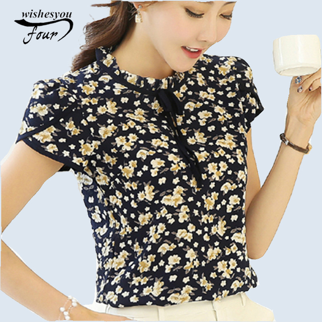 dadfec3b8a7 2018 New Summer Ladies Floral Print Chiffon Blouse Bow Neck Shirt Short  Sleeve Chiffon Tops Plus Size Blusas Femininas 37i 25