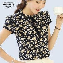 2019 New Summer Ladies Floral Print Chiffon Blouse Bow Neck Shirt Short Sleeve Chiffon Tops Plus Size Blusas Femininas 37i 25