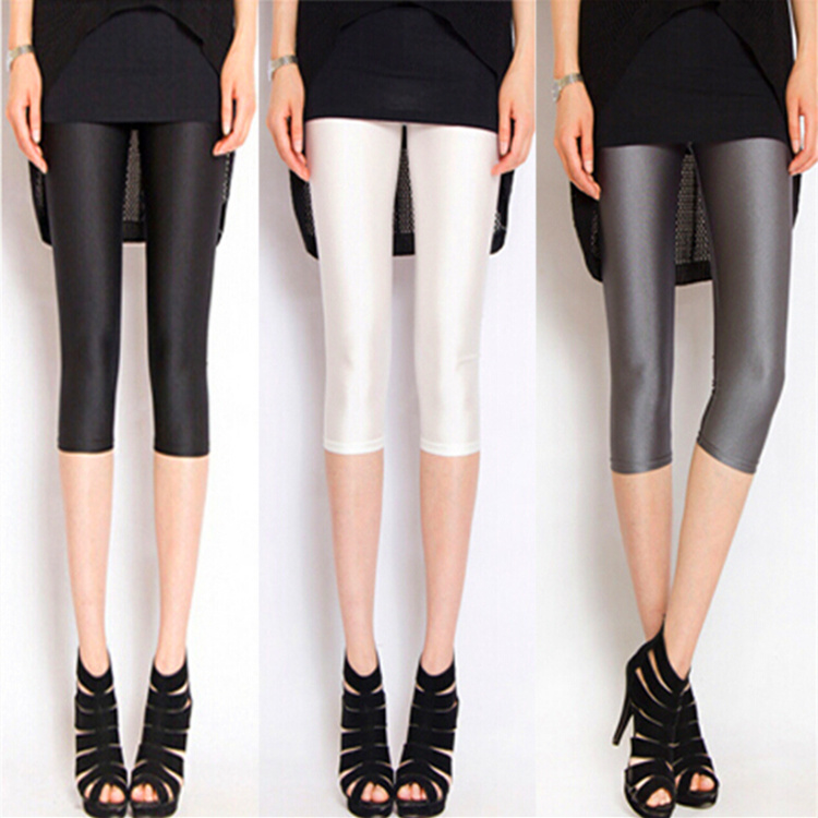 Capris female legging plus size jeans glossy gloss thin 7 skinny pants