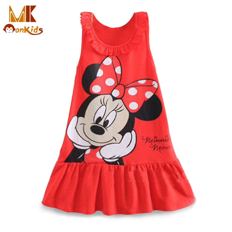 Monkids New 2016 Summer Baby Girls Dresses 2 Color Kids Girl Clothing Princess Cartoon Character Mini Sleeveless Dresses A-Line