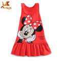 Monkids New 2017 Summer Baby Girls Dresses 2 Color Kids Girl Clothing Princess Cartoon Character Mini Sleeveless Dresses A-Line
