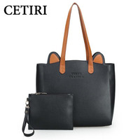 Fashion High Quality Big Tote Bag Autumn Winter Women Leather Handbags Cute Cat Ears Shoulder Bag