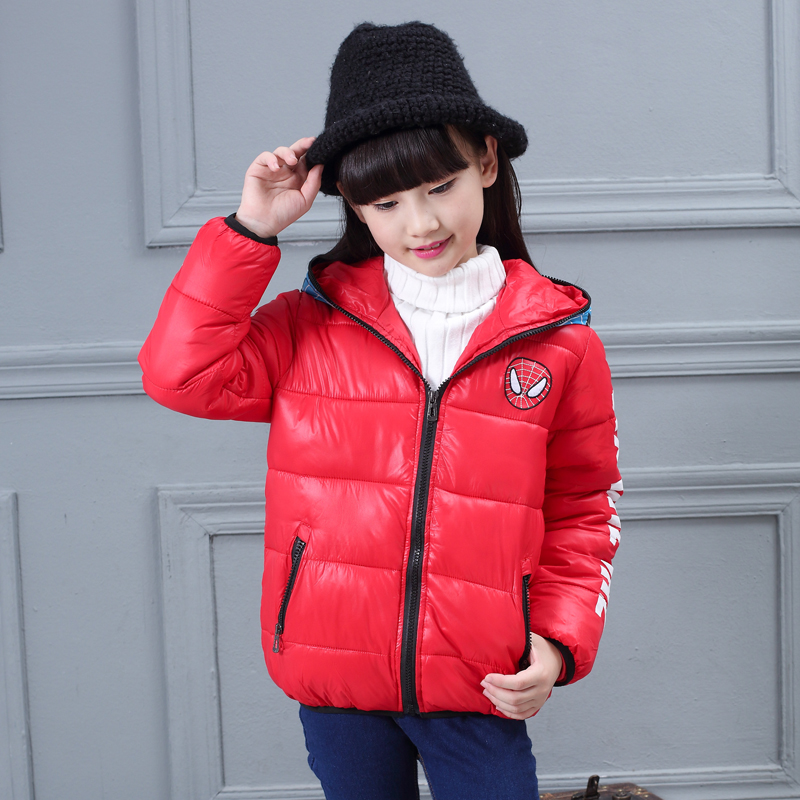 boy girl winter warm jacket coat breathable duck feather down zipper spider man hat hooded collar wind proof 4T 5T 6T 7T 8T 9T