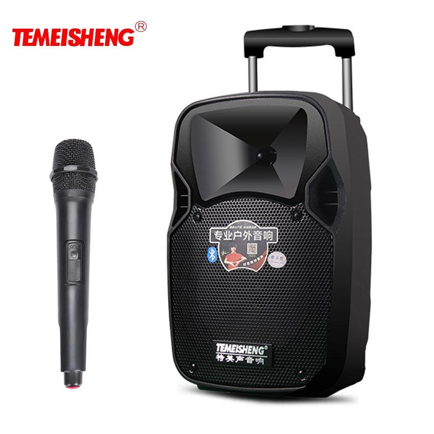 TEMEISHENG Levier 30 W Haute Puissance Portable Haut-Parleur Bluetooth Support de Haut-Parleur Wirelss Microphone Haut-Parleur Extérieur MP3 Lecteur