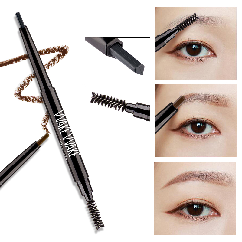 HOLD LIVE Double Head Automatic Eyebrow Pencil 5 Colors Waterproof Eye Brow Makeup Brows Pen With Eyebrows Brush Make Up Black
